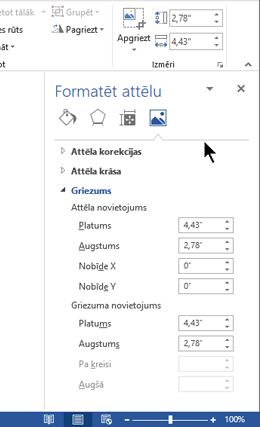 Attēla formatēšanas rūts dokot programmā Word loga labajā pusē
