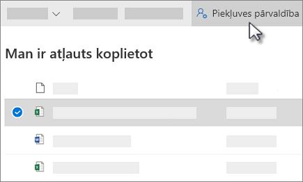 Ekrānuzņēmums, kurā redzama poga pārvaldīt programmu pakalpojumā OneDrive darbam, kas tiek koplietots ar mani