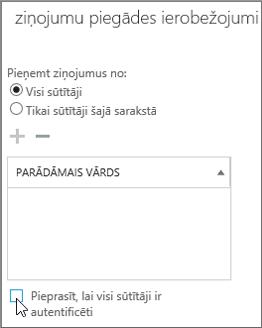 Izvēles rūtiņa autentificēto sūtītāju izslēgšanai