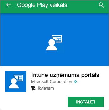 Ekrānuzņēmums, kurā redzama instalēšanas poga Intune uzņēmuma portālam vietnē Google Play Store