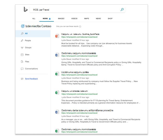 Meklēšanas rezultāti programmā Microsoft meklēšana pakalpojumā Bing, rādot failus uzņēmumā.