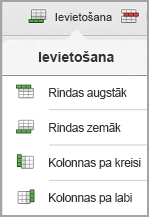 iPad tabulas ievietošana izvēlne