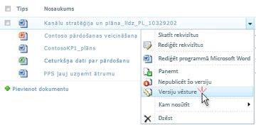 SharePoint faila nolaižamais saraksts. Versiju vēsture ir atlasīta.