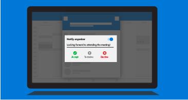 Planšetdatora ekrāns ar organizatora paziņojuma uzvedni, kurā tiek rādītas pieejamo atbilžu opcijas un iespēja pievienot komentāru.