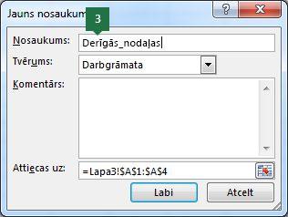Ierakstiet nosaukumu nolaižamā saraksta ierakstiem programmā Excel