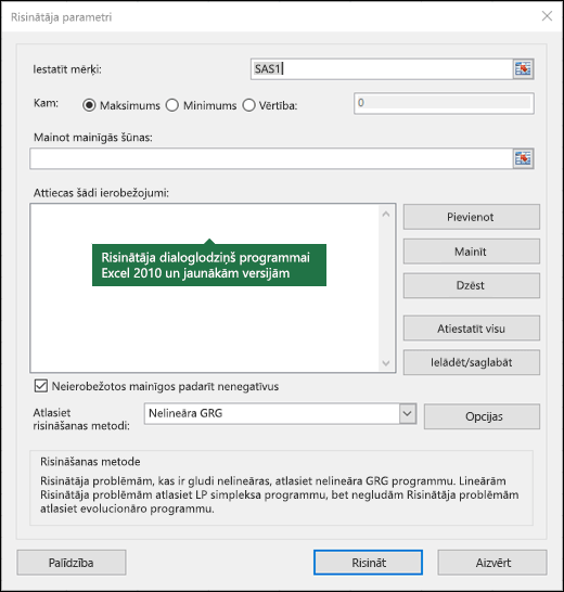 Excel 2010 + Risinātāja dialoglodziņa attēls