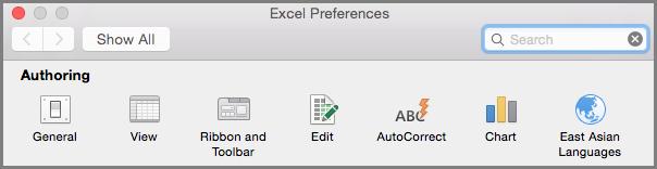Office 2016 for Mac lentes rīkjoslas preferences