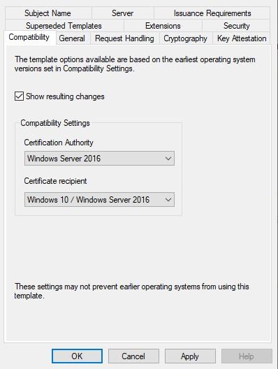 Sertifikāta veidne, parādot saderības līmeņa saderību cilnē iestatiet Windows Server 2016 un Windows 10.