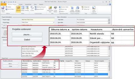 Biznesa projekta ieraksts ar parādītiem projekta uzdevumiem