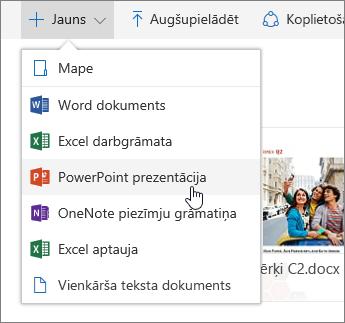 Ekrānuzņēmums, kurā redzams, kā izveidot failu vai mapi pakalpojumā OneDrive