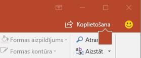 Poga kopīgot programmā PowerPoint 2016 lentē