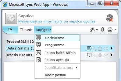 Lync Web App izvēlne Kopīgot