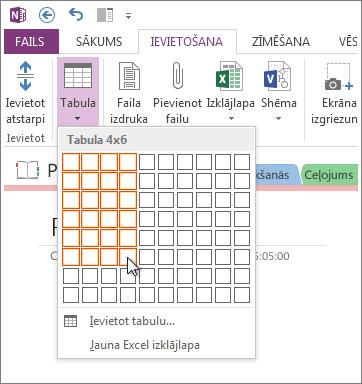 Ievietojiet tabulu programmā OneNote.