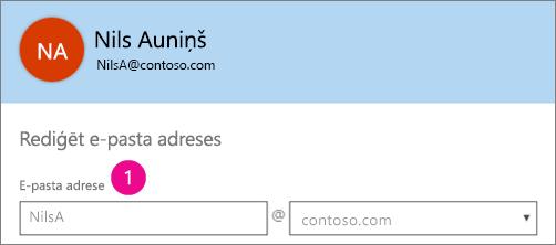 Ekrānuzņēmums, kurā lauku e-pasta adreses profilu pakalpojumā Office 365