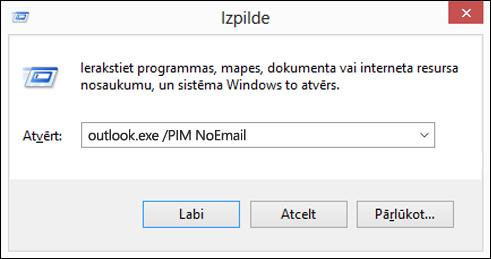 Izmantojiet dialoglodziņu palaist, lai bez e-pasta profila izveidošana