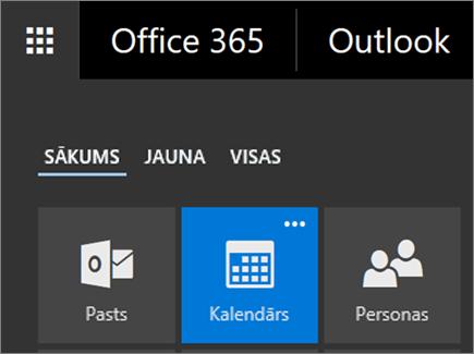 Ekrānuzņēmums, kurā redzams Office365 lietojumprogrammu palaidēja elements Kalendārs.