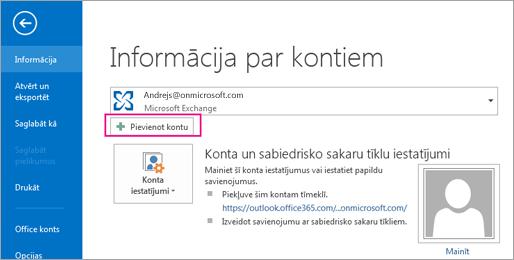 Lai pievienotu Gmail kontu programmā Outlook, noklikšķiniet uz pogas Pievienot kontu.