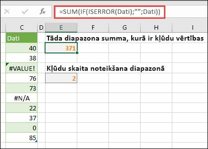 """Izmantojiet masīvus, lai risinātu kļūdas. Piemēram, = SUM (IF (ISERROR (dati), """""""", dati) saskaita diapazonu ar nosauktajiem datiem pat tad, ja tajā ir kļūdas, piemēram, #VALUE! vai #NA!."""