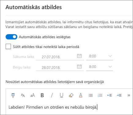 Ārpus biroja atbildes izveide programmā Outlook tīmeklī