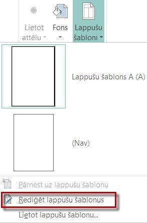 Lappušu šablonu rediģēšana programmā Publisher2013.