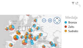 Krāsu lietošana Power View karšu vizualizācijām