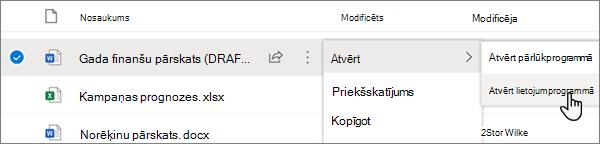 Programmas Word failam OneDrive Online portālā ir atlasīta opcija atvērt > atvērt programmā