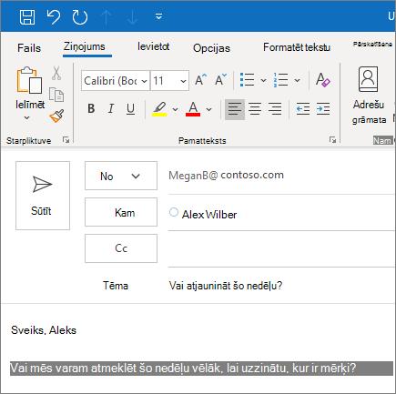 E-pasta ziņojuma izveide un nosūtīšana