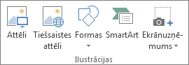 Illustrations group on the Insert tab in Excel
