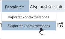 Ekrānuzņēmums ar kontaktpersonu eksportēšanas opciju pārvaldības izvēlnē