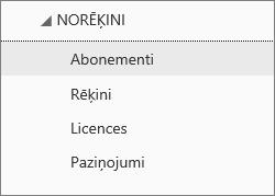 Izvēlnes Norēķini ekrānuzņēmums Office365 administrēšanas centrā, ar atlasītu opciju Abonementi.