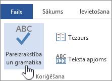 Pareizrakstības un gramatikas pārbaudes poga lentē Pārskatīšana