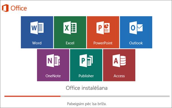 Logs, kurā redzama Office instalēšanas norise