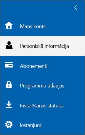 Izvēlne Mans konts ar atlasītu opciju Personiskā informācija.