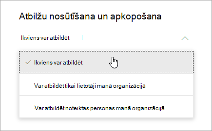 Microsoft Forms opciju kopīgošana