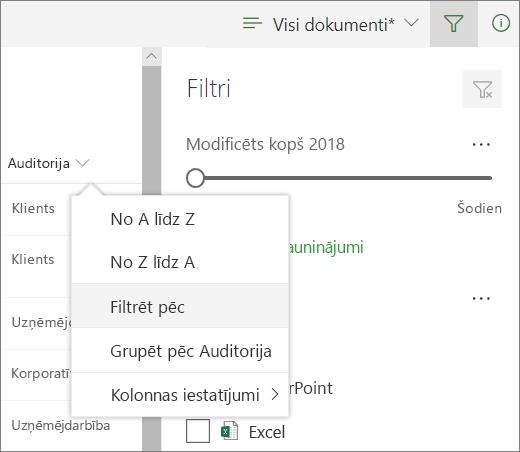Noklikšķiniet uz Filtrēt pēc, lai atvērtu filtru paneli