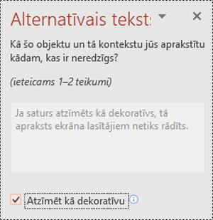 Izvēles rūtiņa Atzīmēt kā dekoratīvu atzīmēta PowerPoint programmā Windows