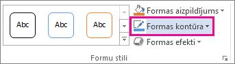 Komanda Formas kontūra cilnē Zīmēšanas rīki/Formatēšana