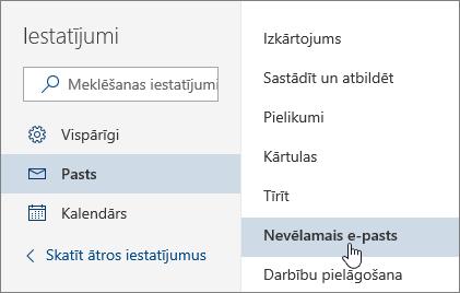 Ekrānuzņēmums, kurā attēlota izvēlne Iestatījumi ar atlasītu nevēlamo e-pastu