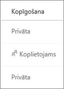 OneDrive darbam koplietošanas statusa skats