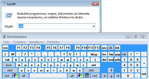 Run text box and On-Screen Keyboard