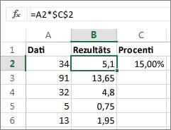 Skaitļu reizināšana ar procentiem