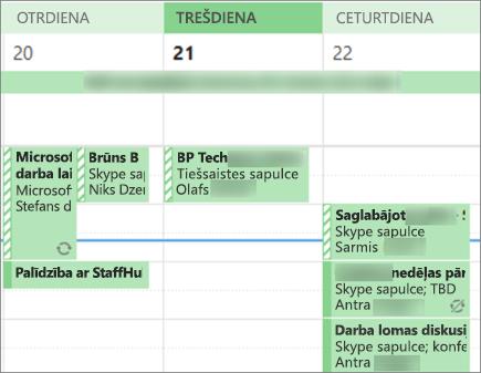 Kā kalendāra izskatās lietotājam, kad koplietojat nepilnīga detalizēta informācija.