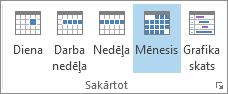 Grupu kārtošana cilnē Sākums: diena, nedēļa, darba nedēļa, mēnesis un grafiks