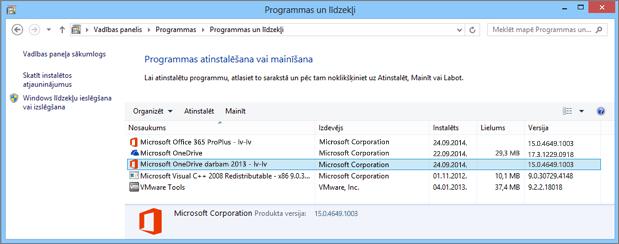 OneDrive darbam sinhronizācijas programmas atrašana operētājsistēmas Windows vadības panelī
