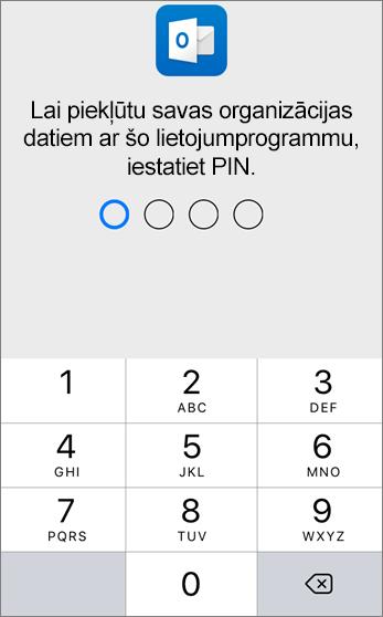 Lai varētu piekļūt savas organizācijas datiem, iestatiet PIN kodu.
