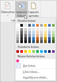 Tiek rādītas lapas krāsu opcijas