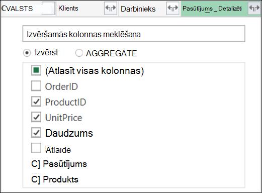 Tabulas Pasūtījumu_dati saites izvēršana