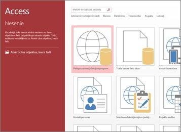 Access sākuma ekrāns ar veidņu meklēšanas lodziņu un pogām Pielāgot tīmekļa lietojumprogrammu un Tukša datora datu bāze.