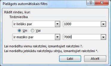 Dialoglodziņš Pielāgots automātiskais filtrs