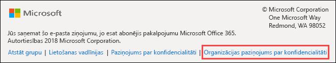 Office 365 grupas viesu sveiciena ziņojuma kājene